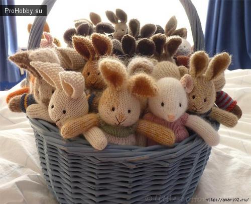 Вязаные зайчики и кролики спицами