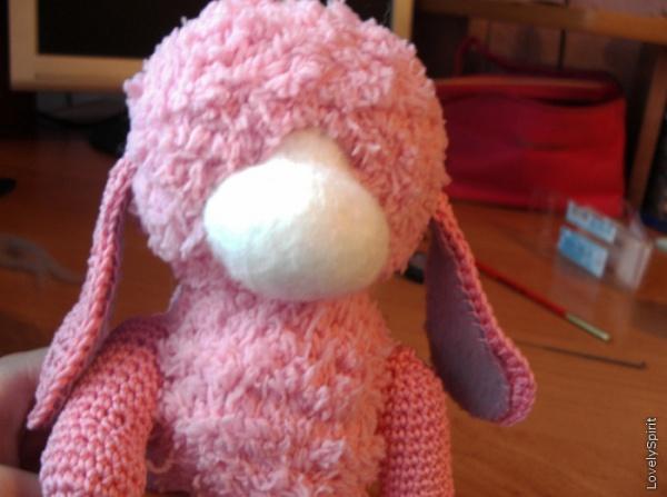 Сухое валяние: Как сделать мордочку для игрушки зайчика
