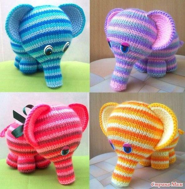 Вяжем радужных слоников спицами