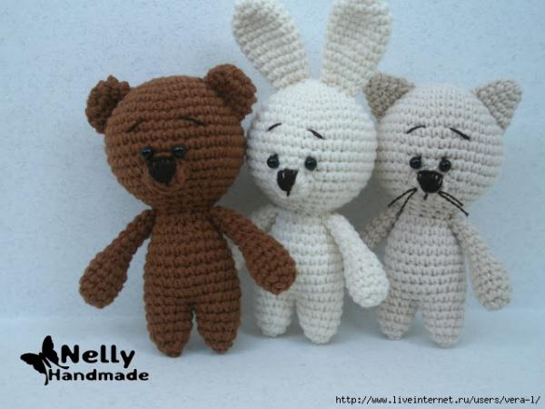 Вяжем крючком малышей: мишка, котик и зайка