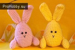 Вязаные пасхальные кролики (зайчики)