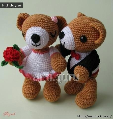 Вязаные свадебные мишки