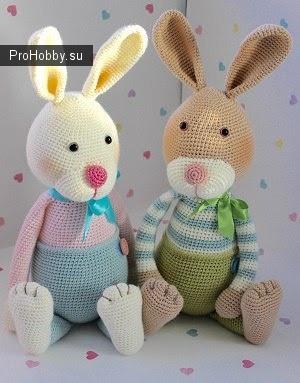Кролики крючком Эрл и Фрейя от Laura Leonard