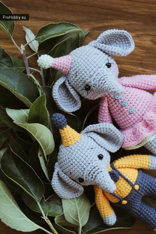 Маленькие слоники крючком