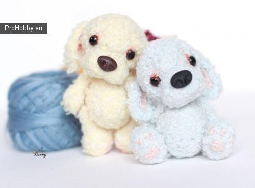 Амигуруми голубой щенок крючком