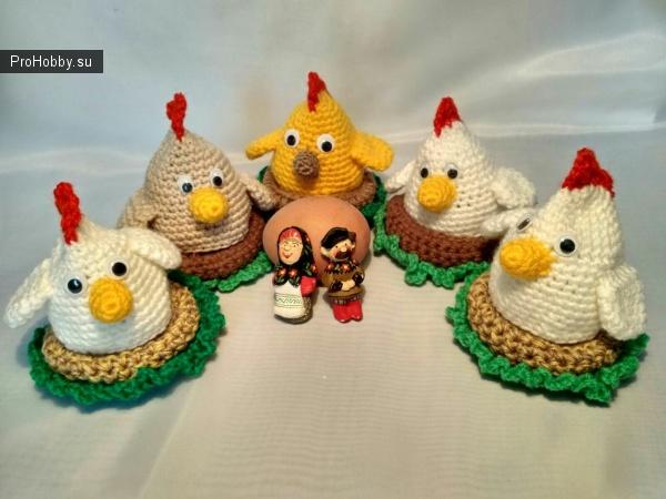 Вязаные цыплята крючком