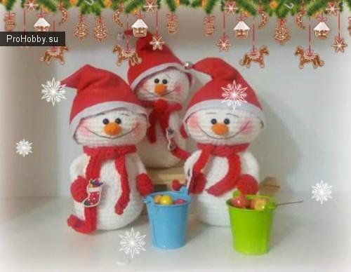 Вязаный снеговик на Новый год