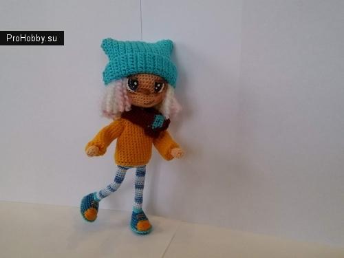 Куколка каркасная, ростом 19 см, связана из 100% хлопок, Цена: 800 рублей